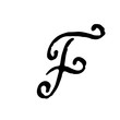 Letter F. Handwritten by dry brush. Rough strokes textured font. Vector illustration. Grunge style alphabet.