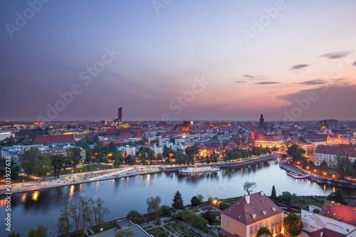 Fototapeta Panorama Wrocławia o zmierzchu obraz
