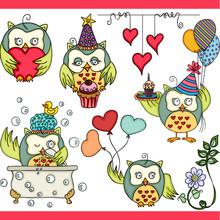Happy Owl Girl Set Digital Ele...