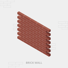 Isometric Red Brick Wall, Vect...