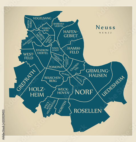 Fotografia Modern City Map - Neuss city of Germany with boroughs and titles DE