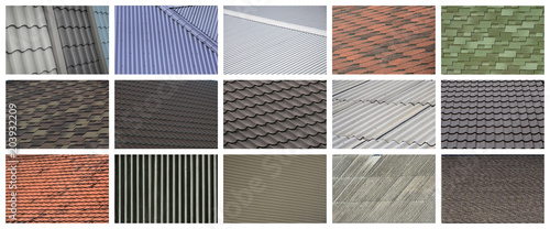 Fotografia A collage of many pictures with fragments of various types of roofing close up