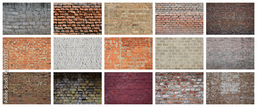 Foto auf AluDibond Ziegelmauer A collage of many pictures with fragments of brick walls of different colors close-up. Set of images with varieties of brickwork