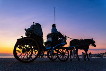 Horse Carriage Ride At Sunset