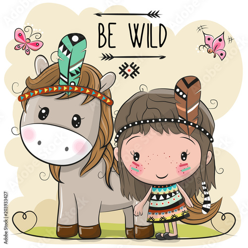 Deurstickers Cute Cartoon tribal girl and Horse with feather