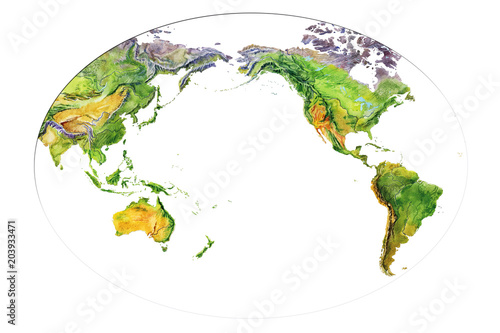 Physical Map Of Europe And Asia.Watercolor Geographical Map Of The World Physical Map Of The World
