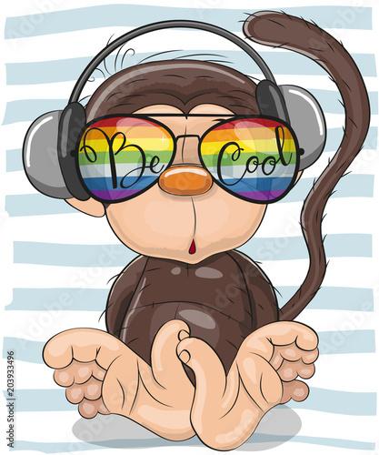 Obraz premium Śliczna małpa z okularami przeciwsłonecznymi
