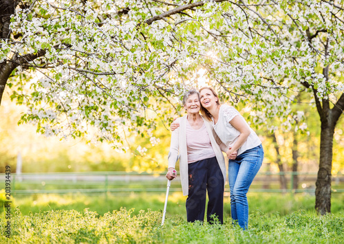 Foto Elderly grandmother with crutch and granddaughter in spring nature