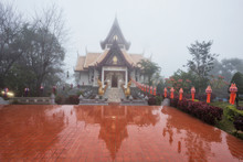 Famous Temple With Mist At Doi Mae Salong