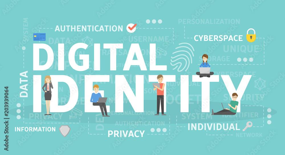Fototapeta Digital identity concept illustration.