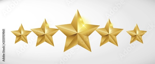 Star rating realistic gold star set vector Tableau sur Toile