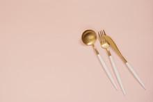 Gold Cutlery. Golden Spoon Set...
