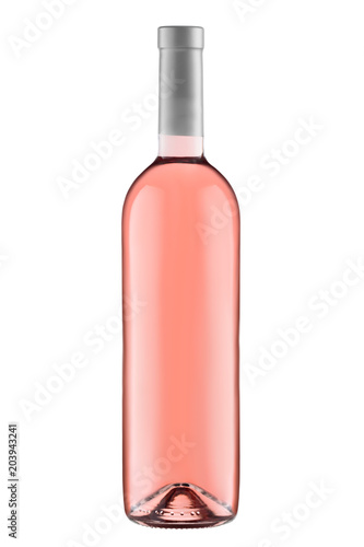 Fotografía  Front view  rose wine blank bottle isolated on white background