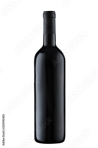 Tela Front view  red wine blank bottle isolated on white background