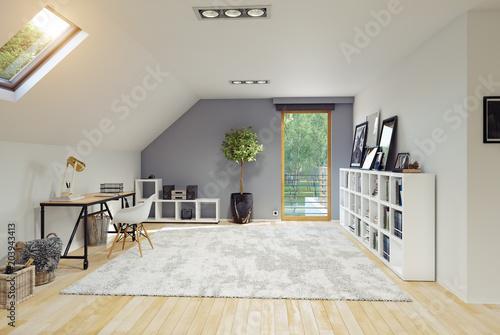 Obraz na plátně Modern Attic room interior.