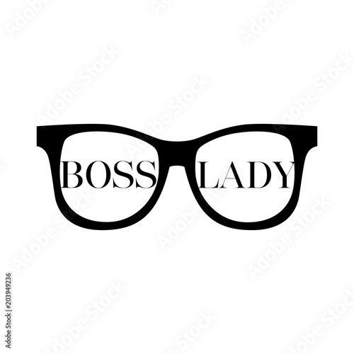 Fotografie, Obraz  Sunglasses with words boss lady on a white background