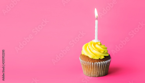 holiday, celebration, greeting and party concept - birthday cupcake with one bur Canvas Print