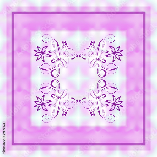 Vector pink floral pattern in a square on a blurry abstract mesh background for Canvas Print