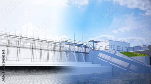 Deurstickers Dam Diga, bacino idrico, impianto idroelettrico, illustrazione 3d, BIM