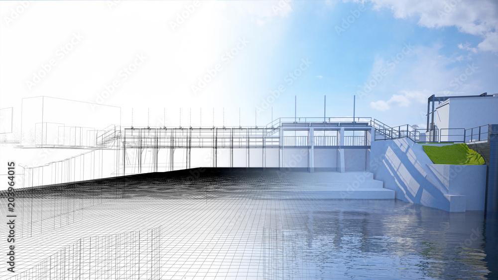 Fototapeta Diga, bacino idrico, impianto idroelettrico, illustrazione 3d, BIM