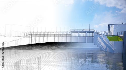 Fotobehang Dam Diga, bacino idrico, impianto idroelettrico, illustrazione 3d, BIM