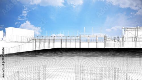 Montage in der Fensternische Damm Diga, bacino idrico, impianto idroelettrico, illustrazione 3d, BIM