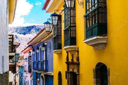 Colonial buildings by jaen street in La Paz- Bolivia