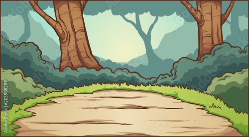 Autocollant pour porte Forets enfants Forest clearing background. Vector clip art illustration with simple gradients. Some elements on separate layers.