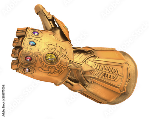 Fotografie, Obraz  Custom collection Golden Gauntlet with gemstone isolated 3d Illustration 3d rend