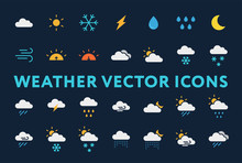 Weather Forecast Meteorology Icons Set. Sun, Snow, Cloud, Rain, Storm, Sunrise, Dawn, Moon, Wind. Minimal Flat  Pictograms On A Dark Background.
