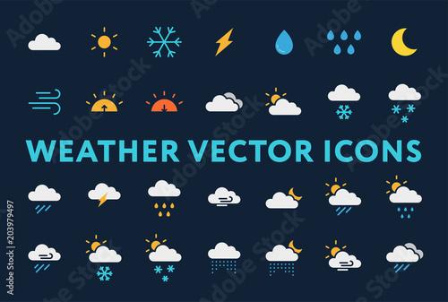 Fototapeta Weather Forecast Meteorology Icons Set. Sun, Snow, Cloud, Rain, Storm, Sunrise, Dawn, Moon, Wind. Minimal Flat  Pictograms on a Dark Background. obraz