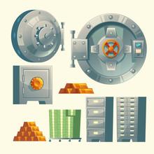 Vector Set Of Bank Vault, Meta...
