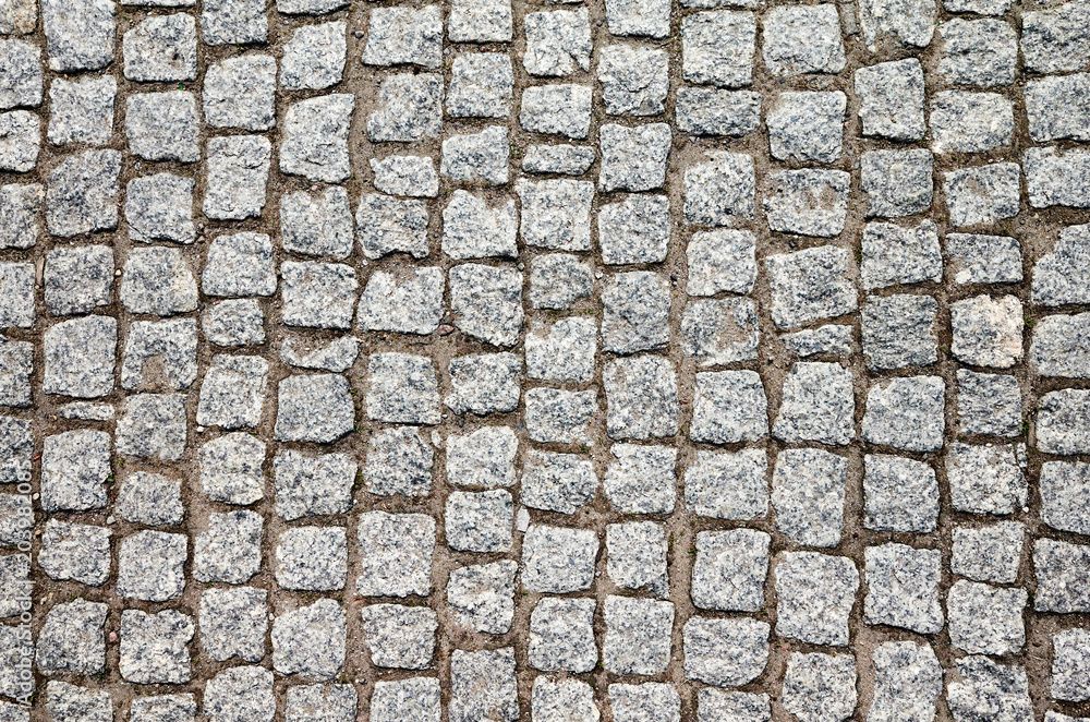 Fototapety, obrazy: Top view of an old cobblestone street