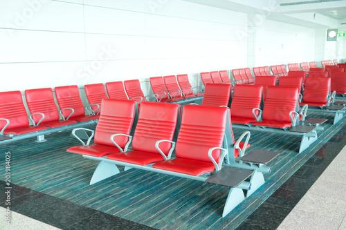 Foto op Plexiglas Luchthaven Seats in departure area in airport terminal.