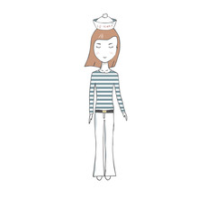 Sailor Girl Vector Clothing Female Redheaded Long Hair Family Person School Student Winter Sea Travel Blond Woman Character Drawing Full-length Pigtails Geometric On White Background