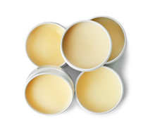 Lip Balms On Grey Background, Top View