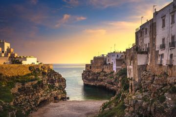 Polignano a Mare village at sunrise, Bari, Apulia, Italy.