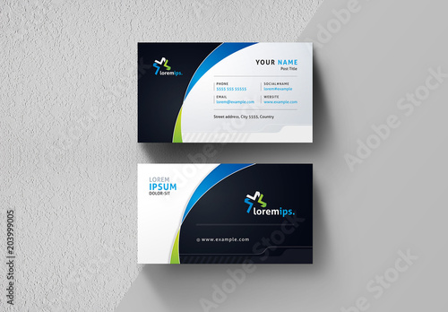 Business Card Layout With Gradient Curve Design Buy This Stock