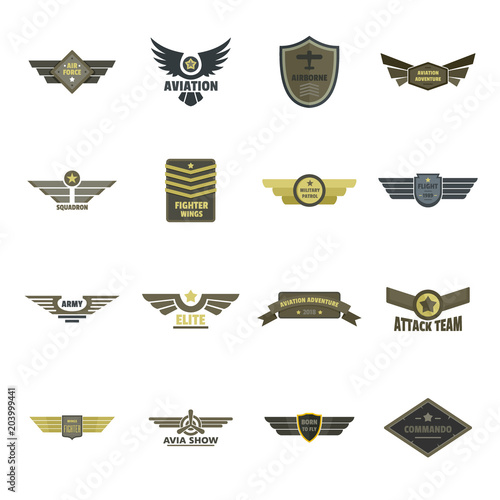 Airforce navy military logo icons set Wallpaper Mural