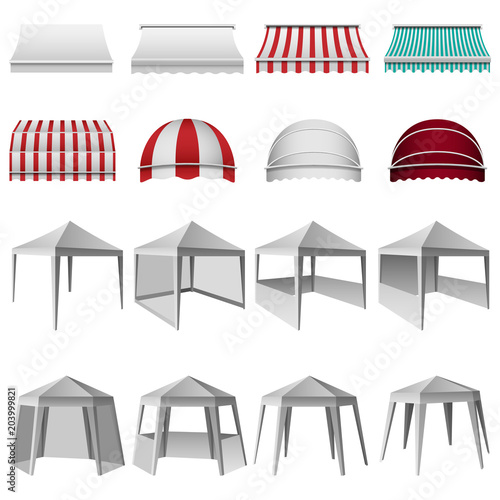 Canopy shed overhang awning mockup set Fototapeta