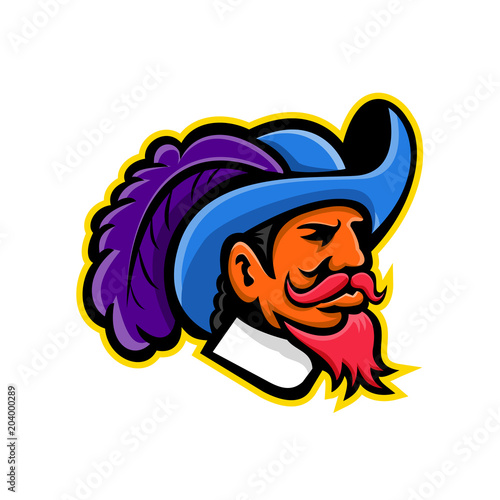 Obraz na plátne Mascot icon illustration of head of a musketeer or cavalier wearing a cavalier hat that  is wide-brimmed and trimmed with an ostrich plume viewed from side on isolated background in retro style
