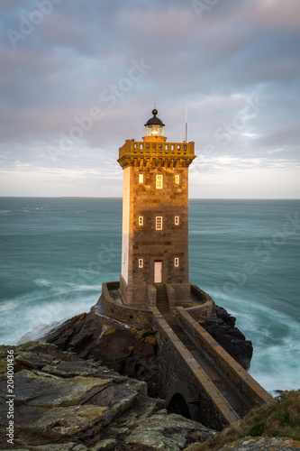 Photo Stands Lighthouse Kermorvan lighthouse, Le Conquet, most western part of France, Bretagne, France