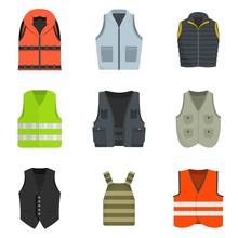 Vest Waistcoat Jacket Suit Icons Set. Flat Illustration Of 9 Vest Waistcoat Jacket Suit Vector Icons Isolated On White