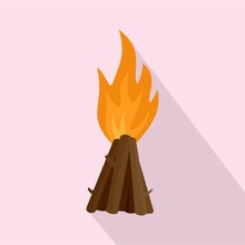 Tepee Fire Icon. Flat Illustration Of Tepee Fire Vector Icon For Web Design
