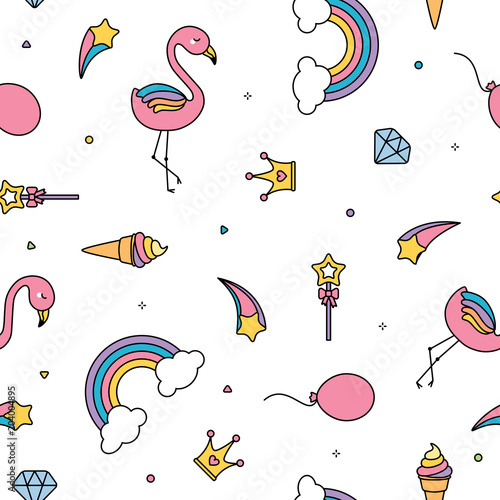 Flamingo, rainbows and stars seamless pattern white background Canvas Print
