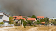 Series Of Wildfires In Croatia Approaching Village