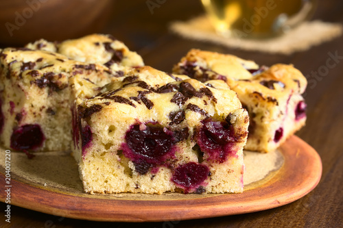 Cherry blondie or blond brownie cake baked with white and dark chocolate pieces, Wallpaper Mural