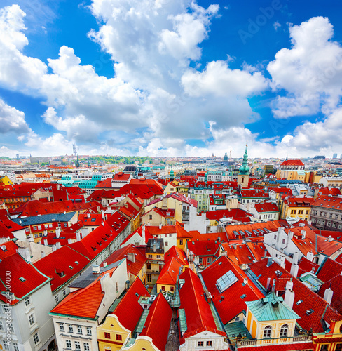Fototapeta Praga czerwone-dachy-pragi