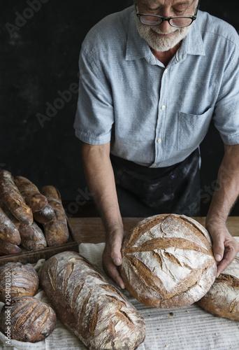 Fotografie, Obraz  Homemade sourdough bread food photography recipe idea
