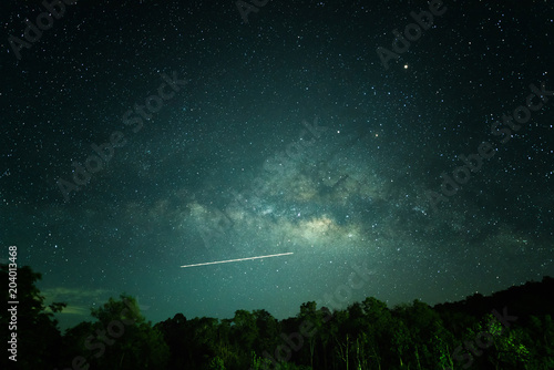 Fotografie, Tablou Dark night with bright many star, The vast sky at night landscape with milky way